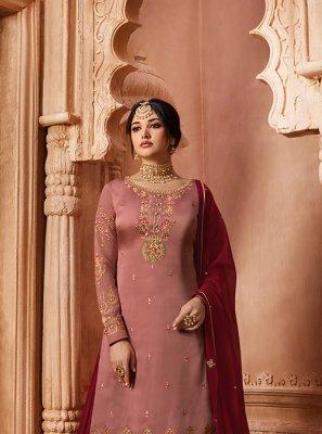 Pink Resham Georgette Satin Designer Pakistani Suit