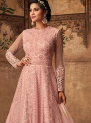 Pink Resham Net Floor Length Anarkali Suit