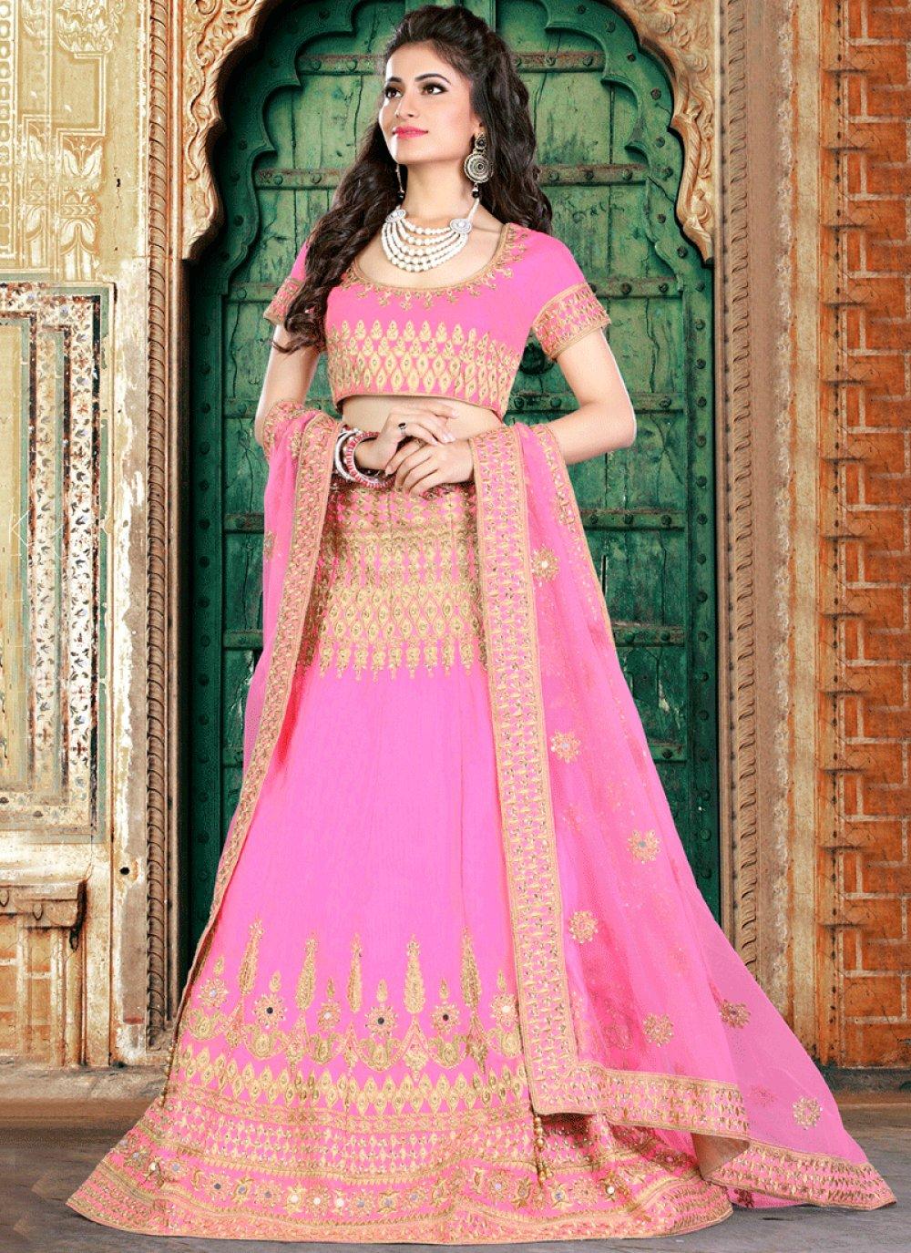 Pink Resham Work Lehenga Choli