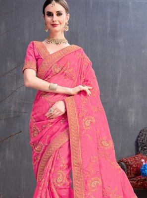 Pink Sequins Festival Trendy Saree