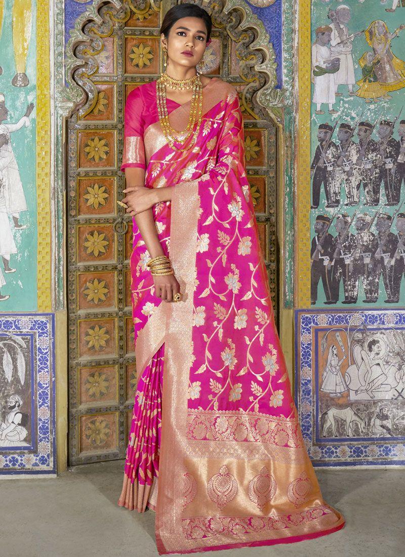 Pink Silk Ceremonial Traditional Saree
