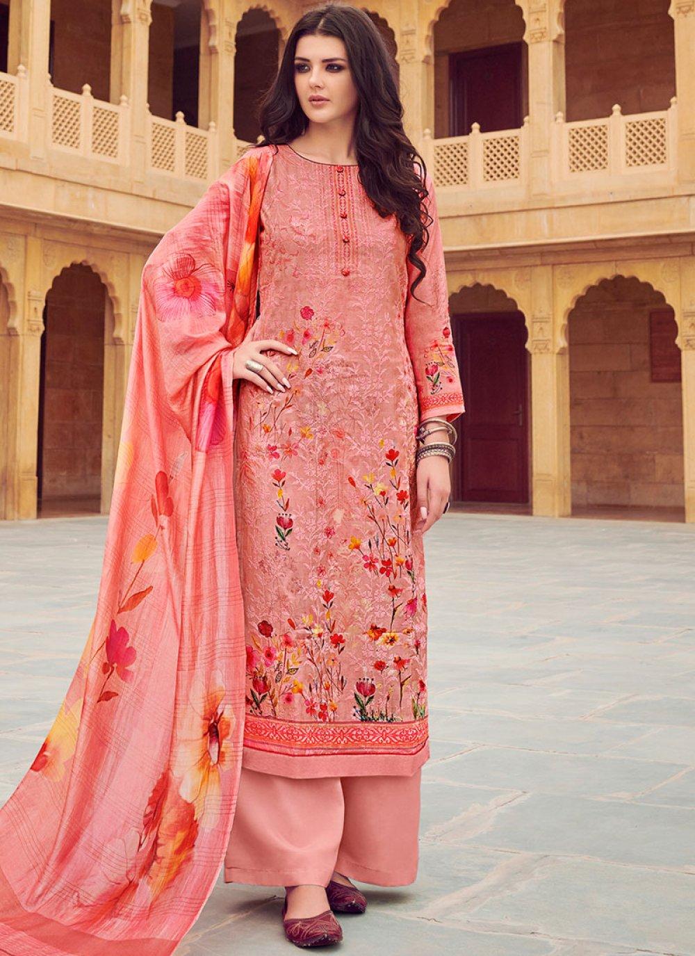 Pink Silk Designer Palazzo Suit