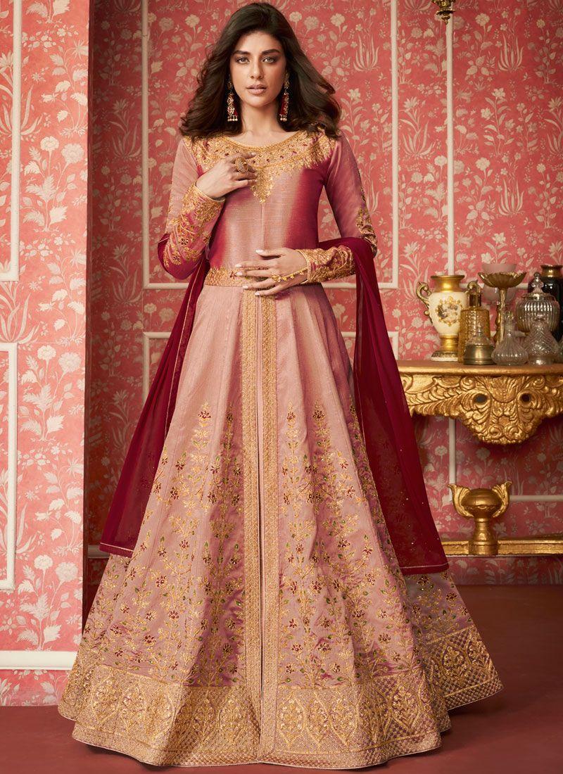 Pink Silk Desinger Anarkali Salwar Suit
