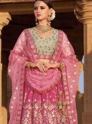 Pink Silk Wedding Designer A Line Lehenga Choli