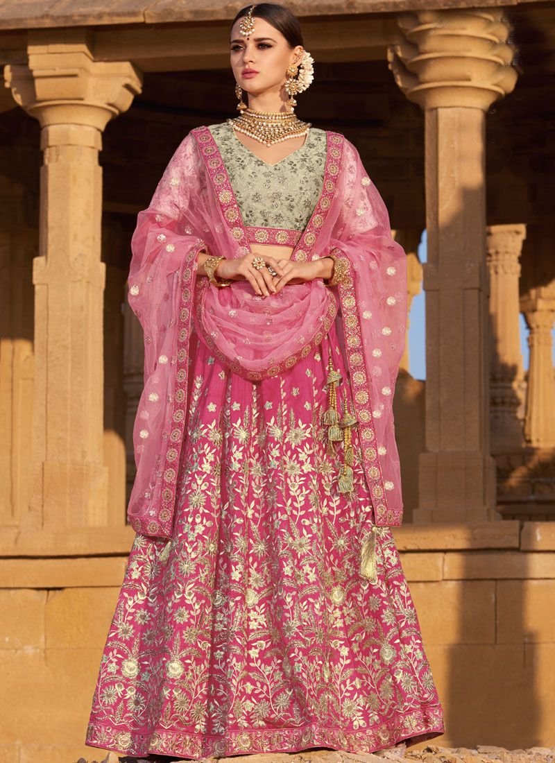 Pink Silk Wedding Designer A Line Lehenga Choli