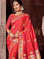 Pink Stone Work Art Silk Classic Designer Saree
