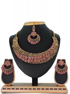 Pink Stone Work Ceremonial Necklace Set