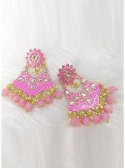 Pink Stone Work Ear Rings