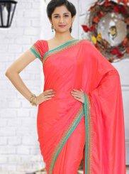 Pink Stone Work Mehndi Classic Saree