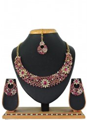 Pink Stone Work Necklace Set
