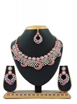 Pink Stone Work Necklace Set