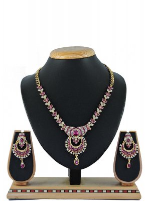 Pink Stone Work Sangeet Necklace Set
