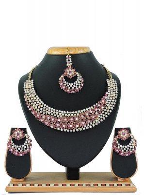 Pink Stone Work Sangeet Necklace Set