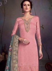 Pink Swarovski Georgette Satin Pakistani Salwar Kameez
