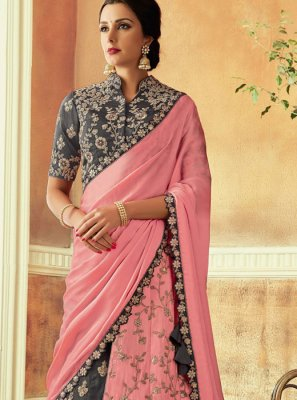 Pink Tafeta Silk Wedding Lehenga Choli