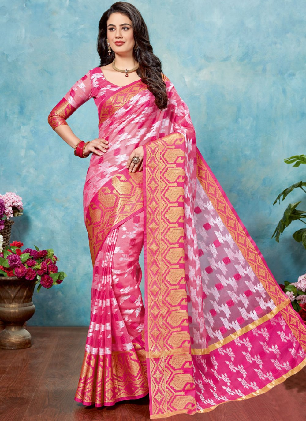 Pink Tissue Traditional Saree