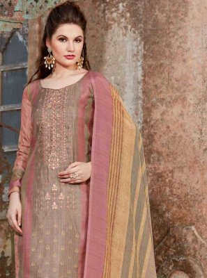 Pink Tussar Silk Party Pant Style Suit