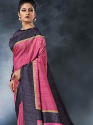 Pink Tussar Silk Party Printed Saree