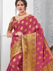 Pink Tussar Silk Traditional Saree