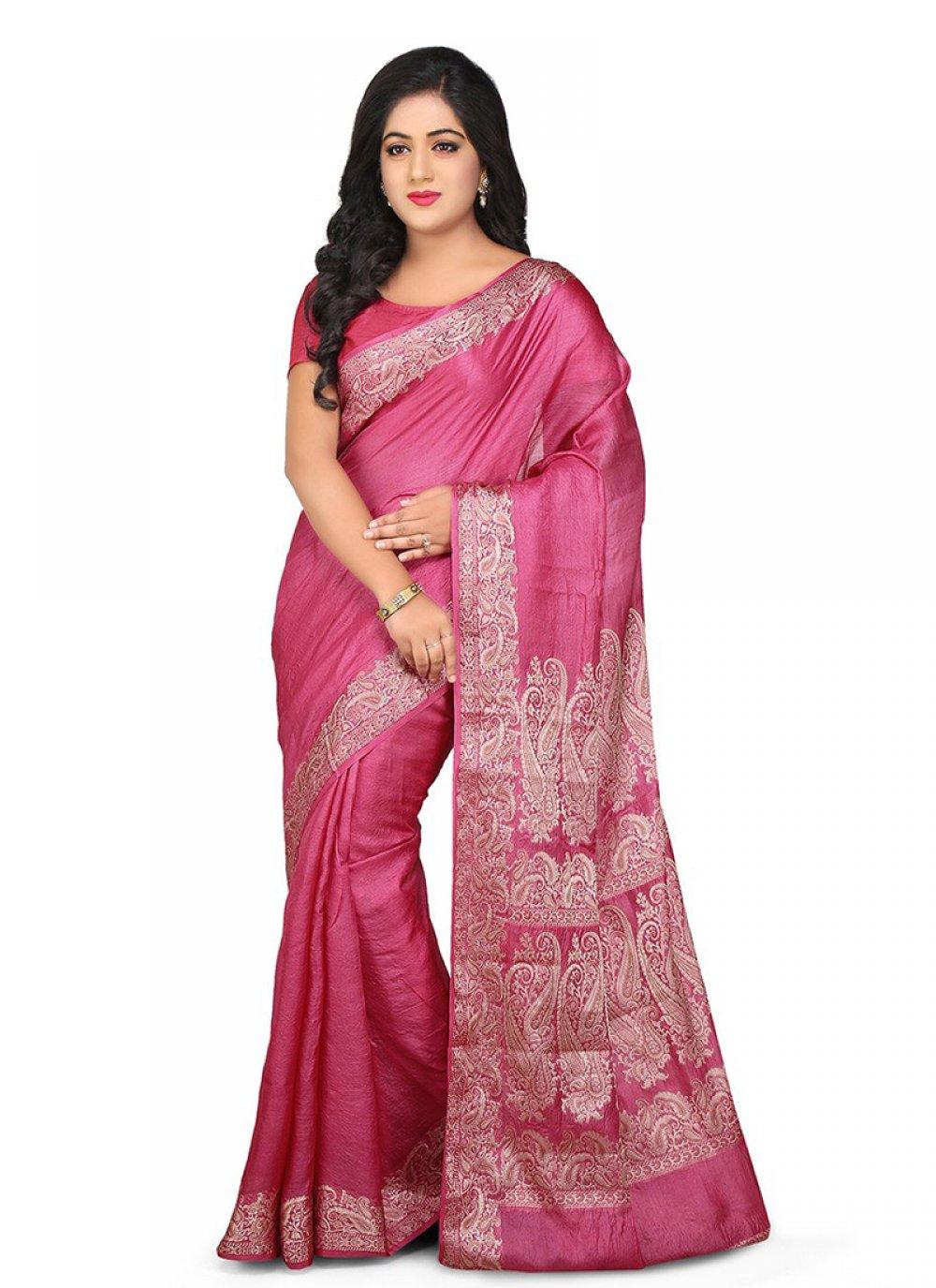 Pink Weaving Art Banarasi Silk Designer Traditional Saree
