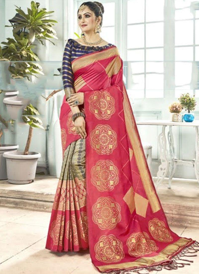 Pink Weaving Art Silk Traditional Designer Saree