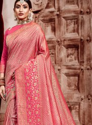 Pink Weaving Art Silk Traditional Designer Saree