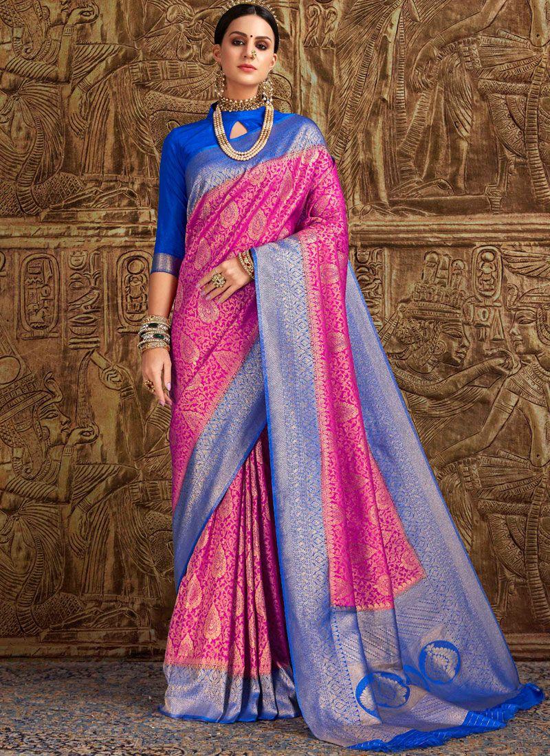 Pink Weaving Art Silk Traditional Saree
