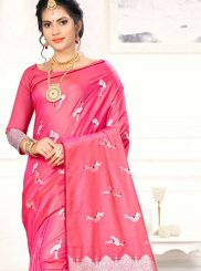 Pink Weaving Art Silk Traditional Saree