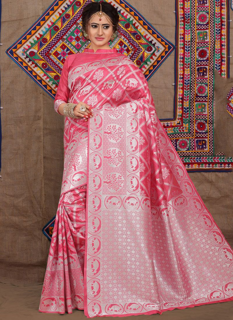 Pink Weaving Ceremonial Designer Traditional Saree
