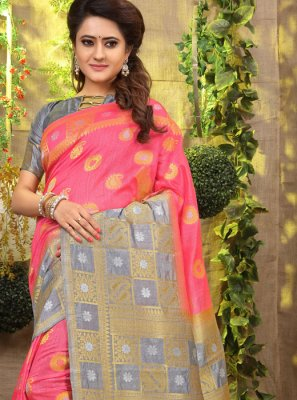 Pink Weaving Designer Traditional Saree