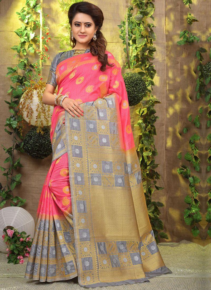 Pink Weaving Designer Traditional Saree