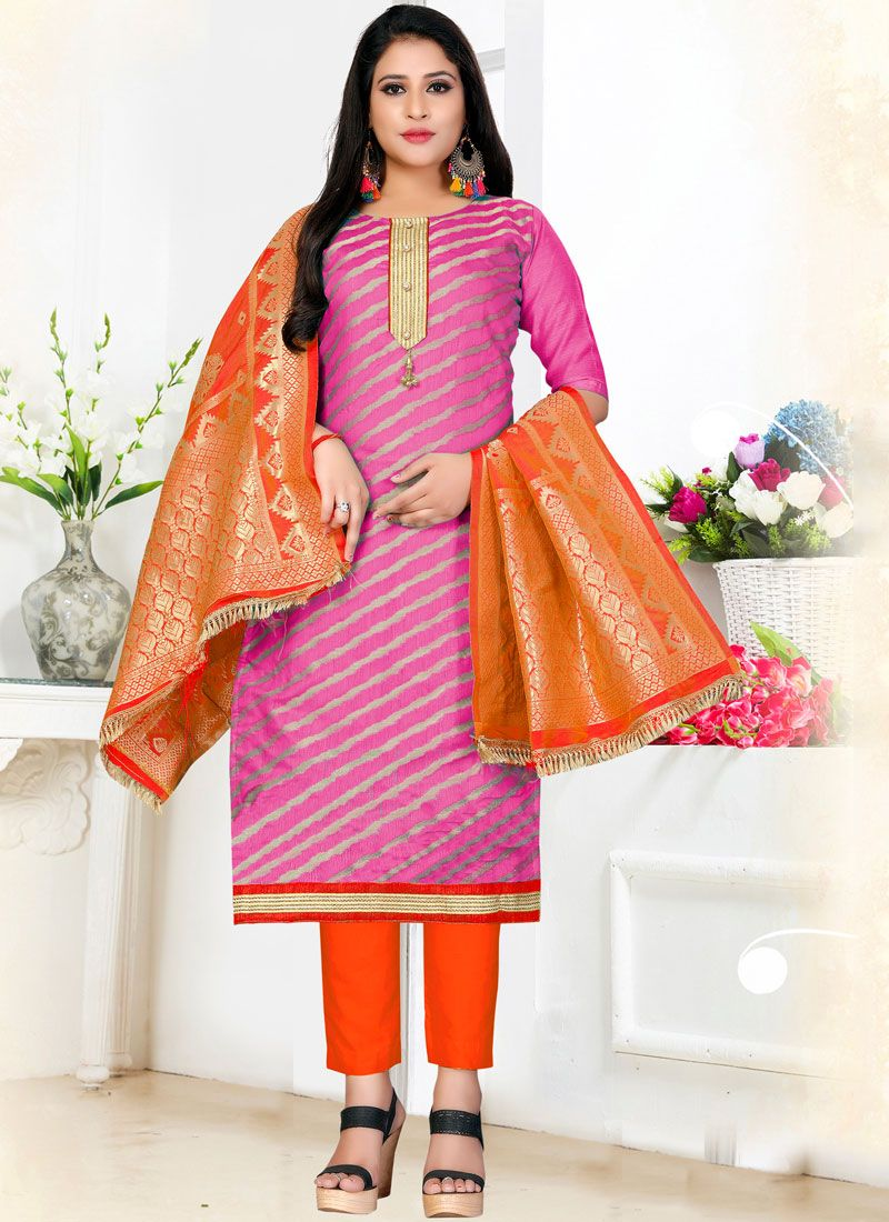 Pink Weaving Pant Style Suit