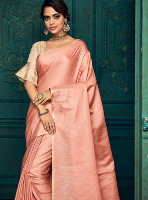 Pink Weaving Silk Traditional Saree