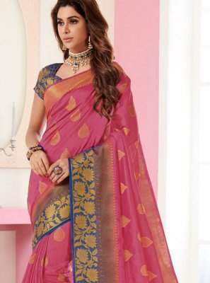 Pink Weaving Traditional Designer Saree