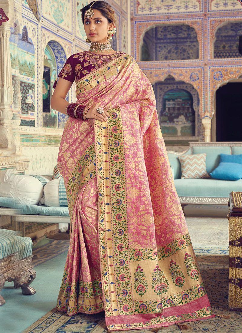 Pink Weaving Traditional Saree