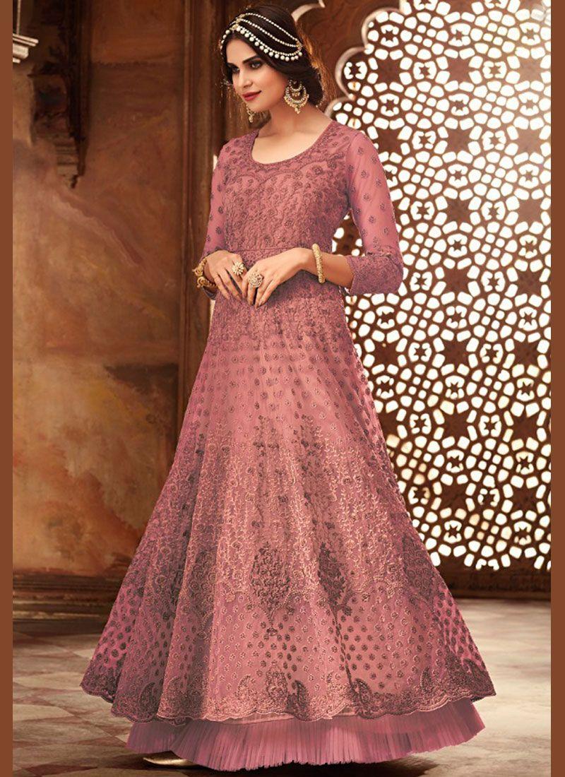 Pink Wedding Floor Length Anarkali Suit