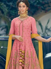 Pink Wedding Georgette Designer Palazzo Salwar Suit