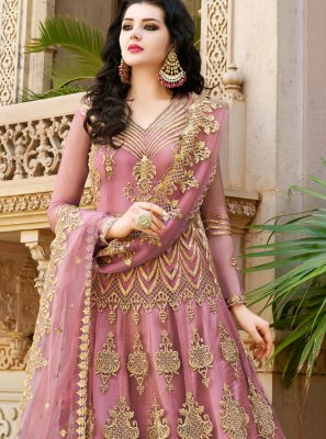 Pink Wedding Long Choli Lehenga