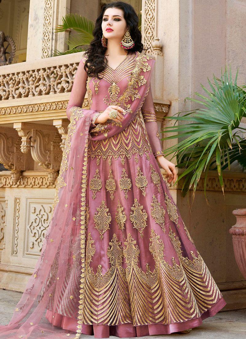 Pink Wedding Long Choli Lehenga