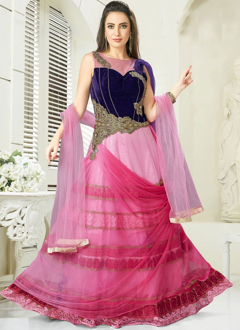 Pink Wedding Net Readymade Gown