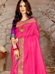 Pink Woven Chanderi Traditional Saree