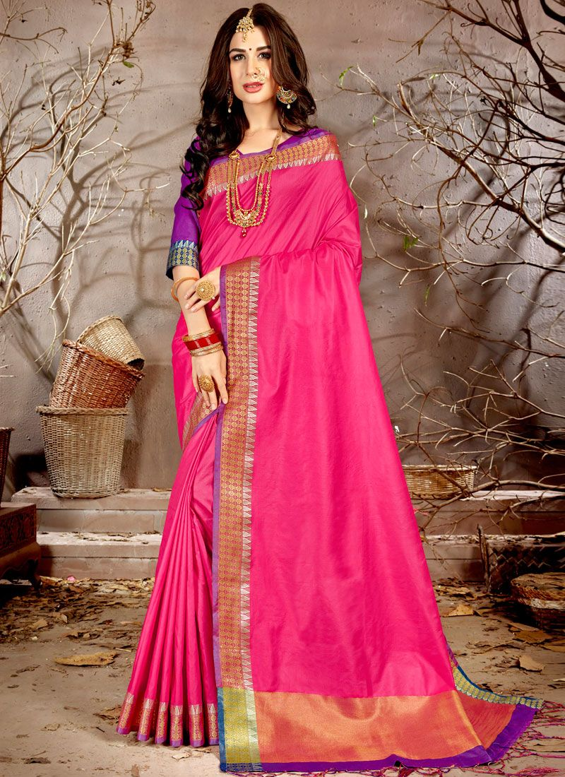 Pink Woven Chanderi Traditional Saree