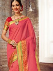 Pink Woven Cotton Silk Traditional Saree