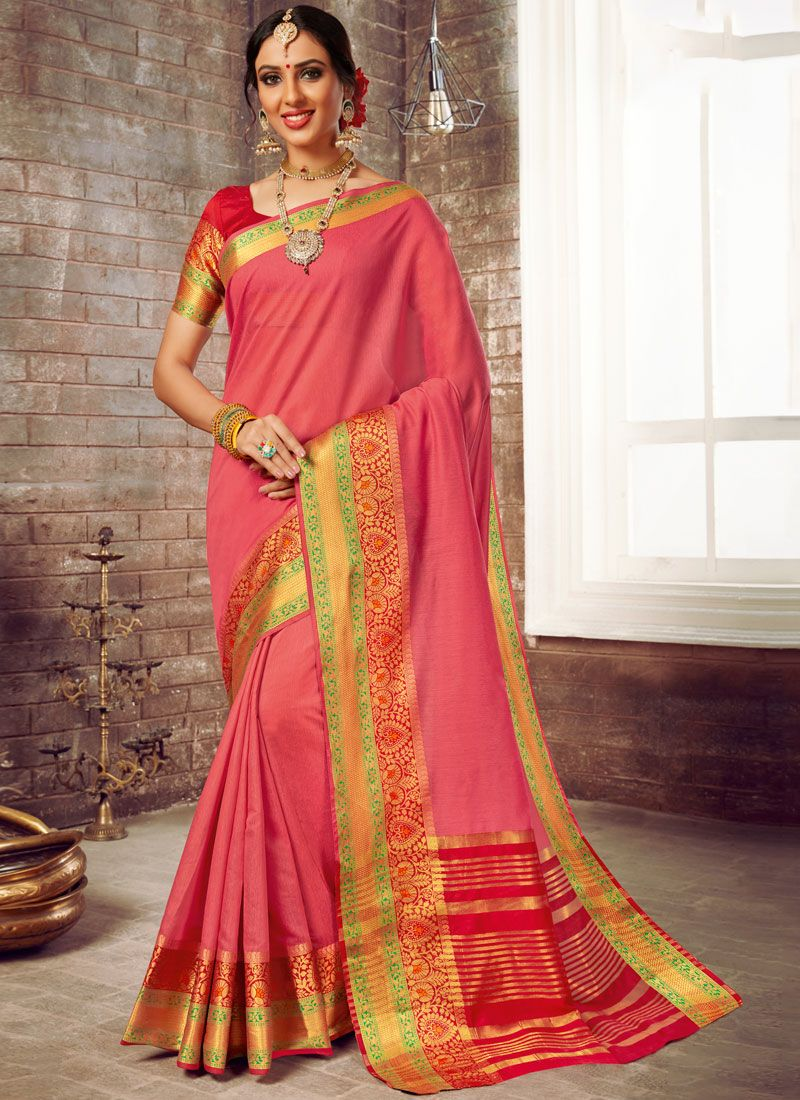 Pink Woven Cotton Silk Traditional Saree