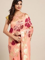 Pink Woven Designer Traditional Saree