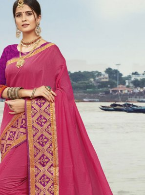 Pink Woven Festival Traditional Designer Saree