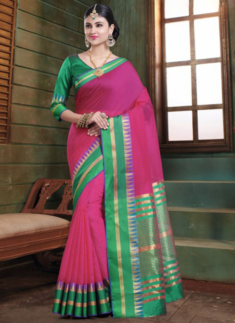 Pink Woven Festival Traditional Saree