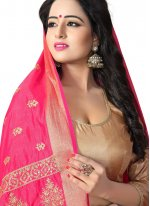 Pink Woven Traditional Saree