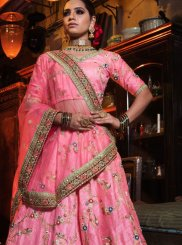 Pink Zari Art Silk Lehenga Choli