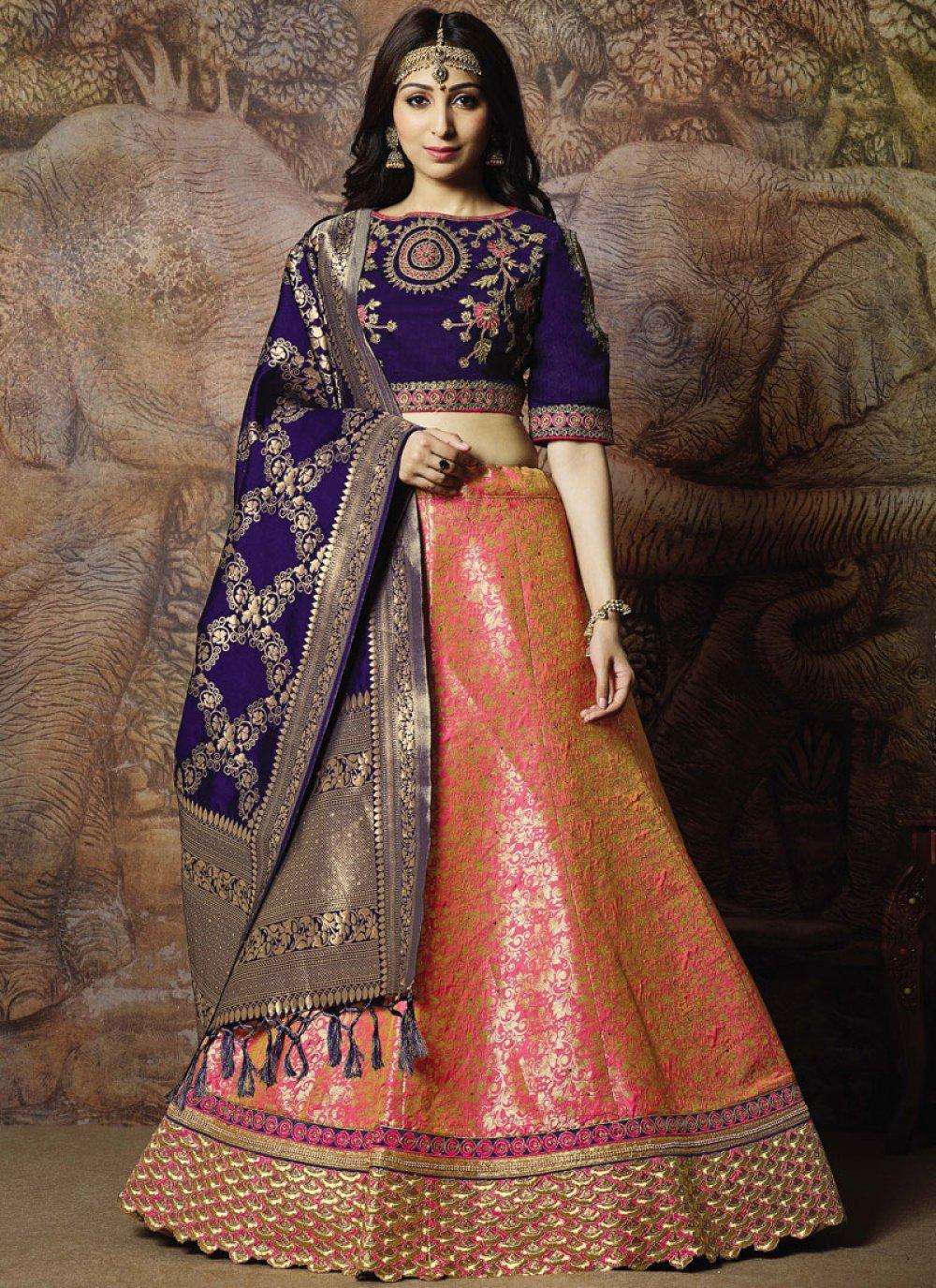 Pink Zari Jacquard Silk Trendy Lehenga Choli